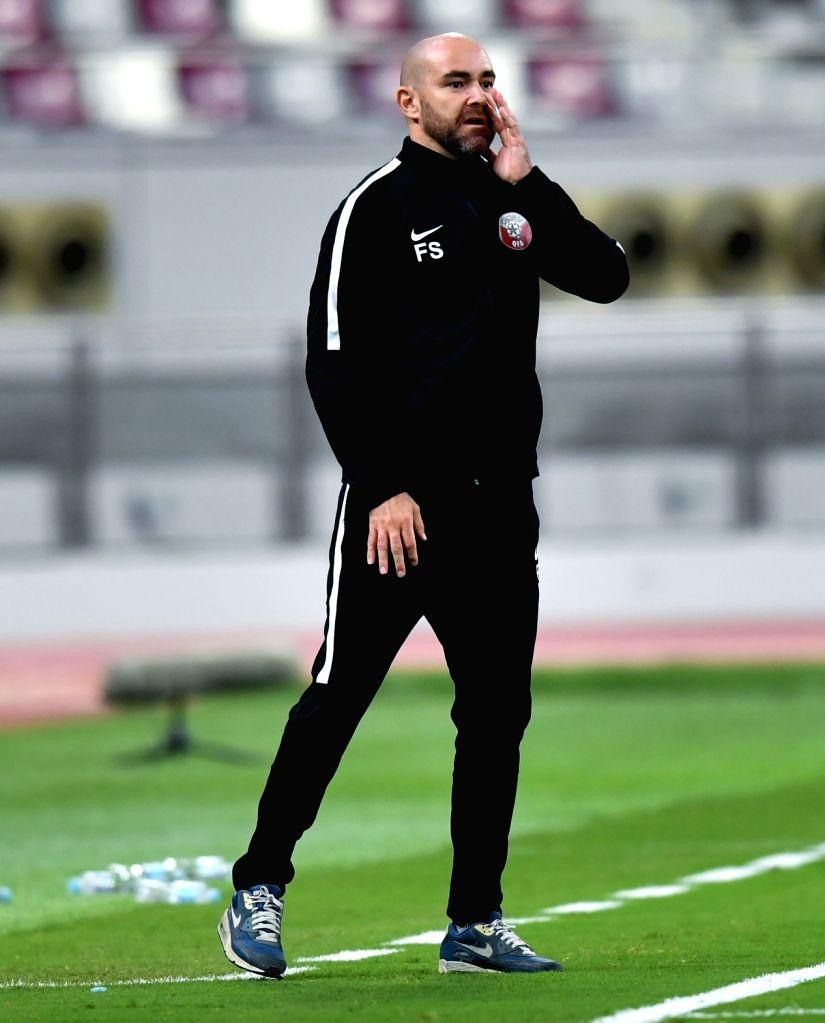 DOHA, Sep. 12, 2018 - Felix Sanchez Bas, head coach of Qatar reacts during an international friendly soccer match between Qatar and Palestine at the Khalifa International Stadium in Doha, capital of ...
