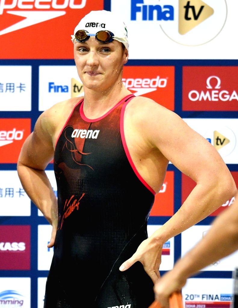 DOHA, Sept.14, 2018 - Katinka Hosszu of Hungary looks on after winning the Women's 400m Freestyle Final of FINA Swimming World Cup Doha 2018 in Doha, capital of Qatar on Sept. 13, 2018. Katinka ...