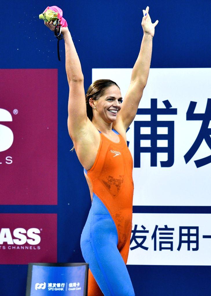 DOHA, Sept.14, 2018 - Yuliya Efimova of Russia celebrates after winning the Women's 200m Breaststroke Final of FINA Swimming World Cup Doha 2018 in Doha, capital of Qatar on Sept. 13, 2018. Yuliya ...