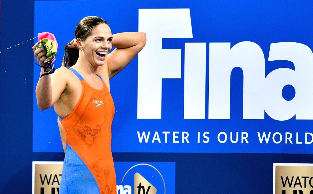 DOHA, Sept.14, 2018 - Yuliya Efimova of Russia reacts after winning the Women's 200m Breaststroke Final of FINA Swimming World Cup Doha 2018 in Doha, capital of Qatar on Sept. 13, 2018. Yuliya ...