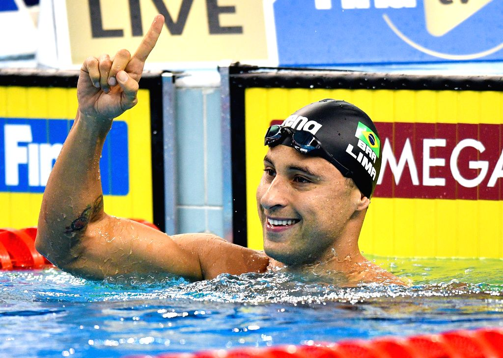 DOHA, Sept. 15, 2018 - Felipe Lima of Brazil celebrates after winning the Men's 50m Breaststroke Final of FINA Swimming World Cup Doha 2018 in Doha, capital of Qatar on Sept. 14, 2018. Lima claimed ...