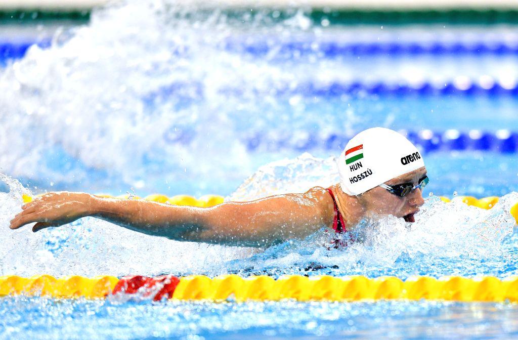 DOHA, Sept. 15, 2018 - Katinka Hosszu of Hungary competes during the Women's 400m Individual Medley Final of FINA Swimming World Cup Doha 2018 in Doha, capital of Qatar on Sept. 14, 2018. Hosszu ...