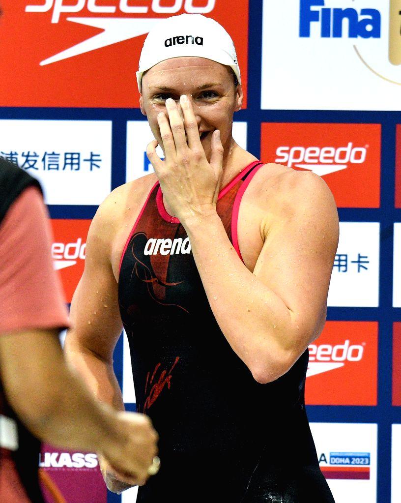 DOHA, Sept. 15, 2018 - Katinka Hosszu of Hungary reacts after winning the Women's 400m Individual Medley Final of FINA Swimming World Cup Doha 2018 in Doha, capital of Qatar on Sept. 14, 2018. Hosszu ...