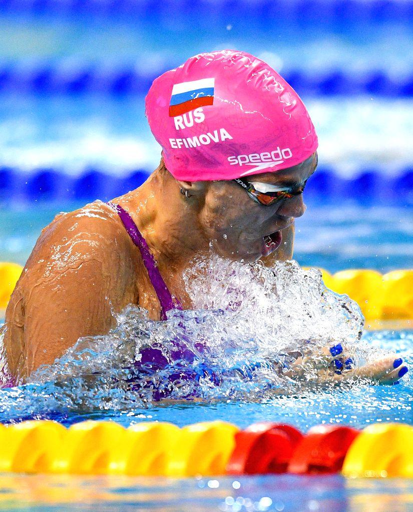 DOHA, Sept. 15, 2018 - Yuliya Efimova of Russia competes during the Women's 100m Breaststroke Final of FINA Swimming World Cup Doha 2018 in Doha, capital of Qatar on Sept. 14, 2018. Yuliya Efimova ...
