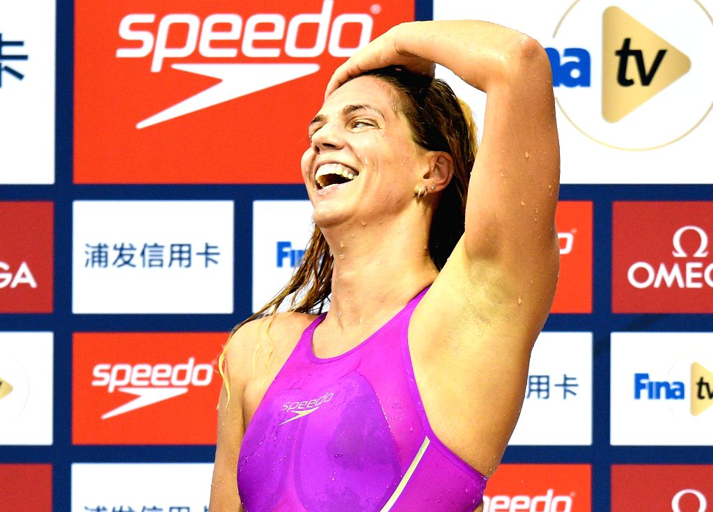 DOHA, Sept. 15, 2018 - Yuliya Efimova of Russia reacts after winning the Women's 100m Breaststroke Final of FINA Swimming World Cup Doha 2018 in Doha, capital of Qatar on Sept. 14, 2018. Yuliya ...