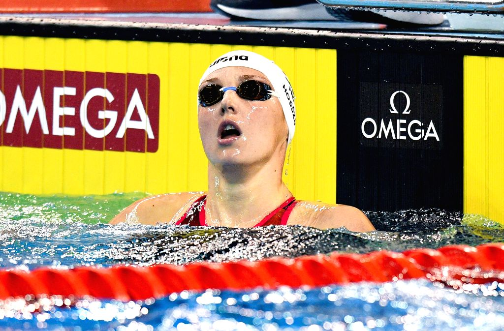 DOHA, Sept. 16, 2018 - Katinka Hosszu of Hungary reacts after winning the Women's 200m Individual Medley Final of FINA Swimming World Cup Doha 2018 in Doha, capital of Qatar on Sept. 15, 2018. Hosszu ...