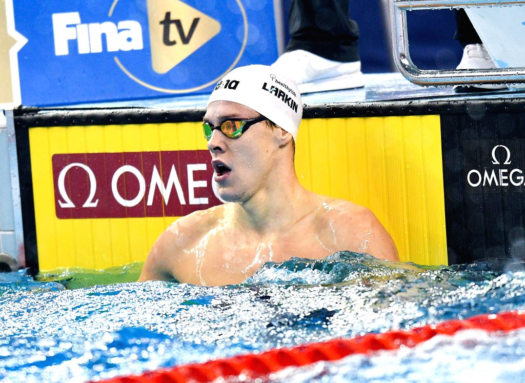 DOHA, Sept. 16, 2018 - Mitchell Larkin of Australia reacts after winning the the Men's 100m Backstroke Final of FINA Swimming World Cup Doha 2018 in Doha, capital of Qatar on Sept. 15, 2018. Mitchell ...