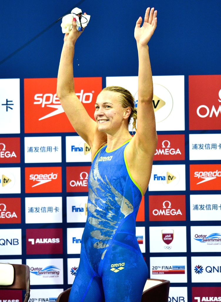 DOHA, Sept. 16, 2018 - Sarah Sjostrom of Sweden celebrates after winning the Women's 100m Butterfly Final of FINA Swimming World Cup Doha 2018 in Doha, capital of Qatar on Sept. 15, 2018. Sarah ...