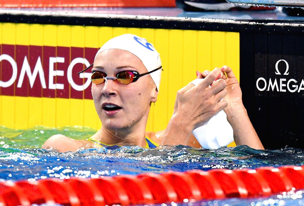 DOHA, Sept. 16, 2018 - Sarah Sjostrom of Sweden reacts after winning the Women's 100m Butterfly Final of FINA Swimming World Cup Doha 2018 in Doha, capital of Qatar on Sept. 15, 2018. Sarah Sjostrom ...