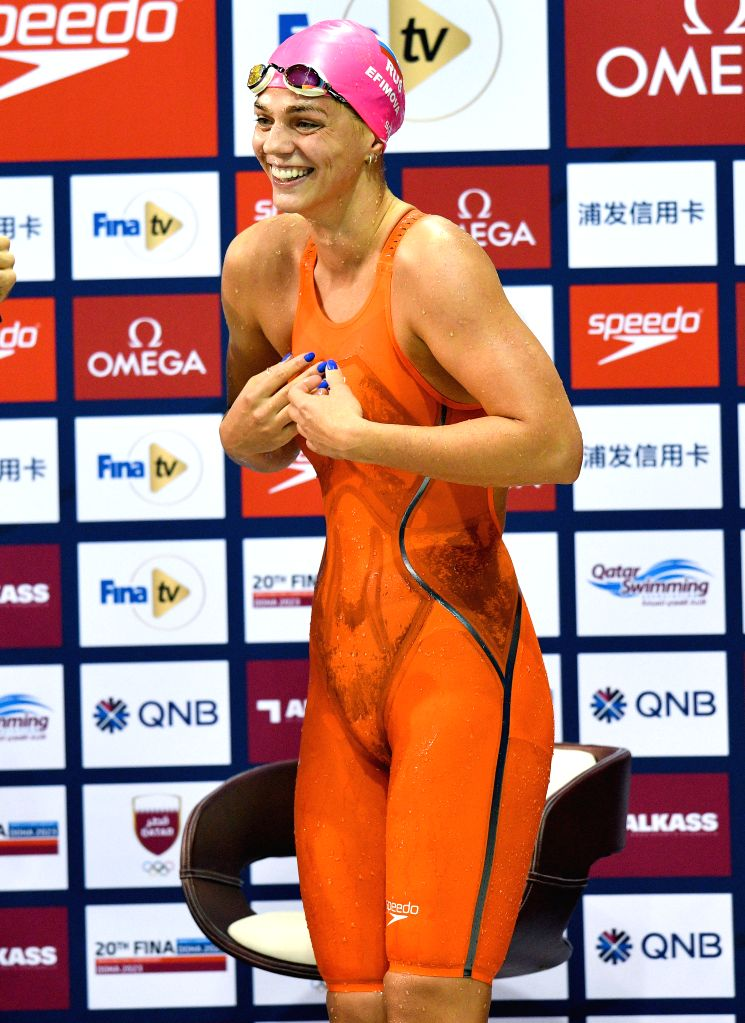 DOHA, Sept. 16, 2018 - Yuliya Efimova of Russia reacts after winning the Women's 50m Breaststroke Final of FINA Swimming World Cup Doha 2018 in Doha, capital of Qatar on Sept. 15, 2018. Yuliya ...