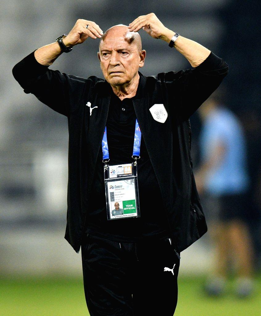 DOHA, Sept. 18, 2018 - Al Sadd's head coach Jesualdo Ferreira reacts during the AFC Asian Champions League quarterfinal second leg football match between Qatar's Al Sadd and Iran's Esteghlal FC in ...