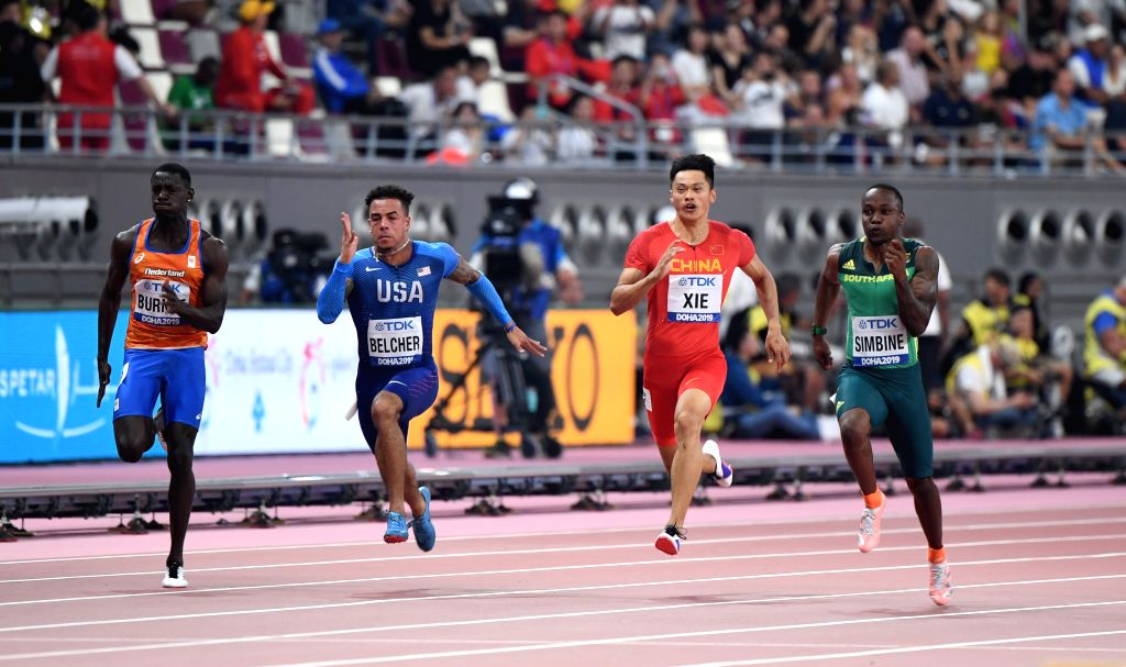 DOHA, Sept. 27, 2019 - China's Xie Zhenye (2nd R) competes during the men's 100m heat at the 2019 IAAF World Athletics Championships in Doha, Qatar, on Sept. 27, 2019.