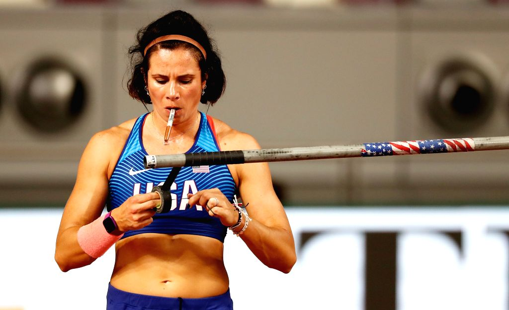 DOHA, Sept. 28, 2019 - Jennifer Suhr of the United States packs her equipment after the qualification round of women's pole vault at the 2019 IAAF World Championships in Doha, Qatar, Sept. 27, 2019.