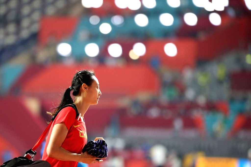 DOHA, Sept. 28, 2019 - Li Ling of China leaves after the qualification round of women's pole vault at the 2019 IAAF World Athletics Championships in Doha, Qatar, Sept. 27, 2019.