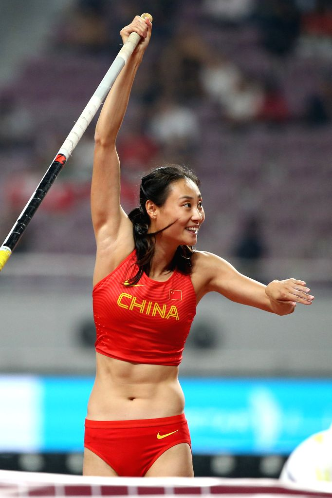 DOHA, Sept. 28, 2019 - Li Ling of China reacts during the qualification round of women's pole vault at the 2019 IAAF World Athletics Championships in Doha, Qatar, Sept. 27, 2019.