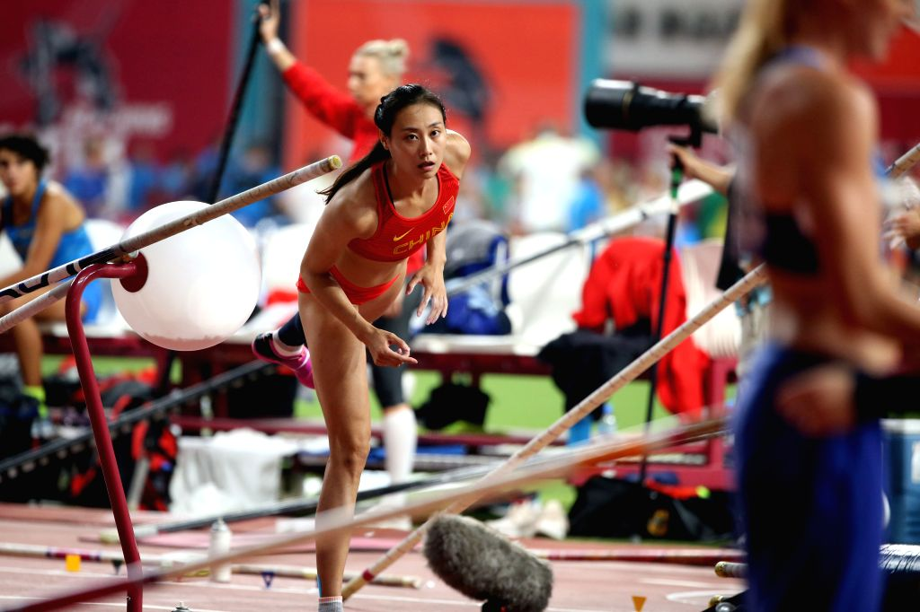 DOHA, Sept. 28, 2019 - Li Ling of China warms up during the qualification round of women's pole vault at the 2019 IAAF World Athletics Championships in Doha, Qatar, Sept. 27, 2019.