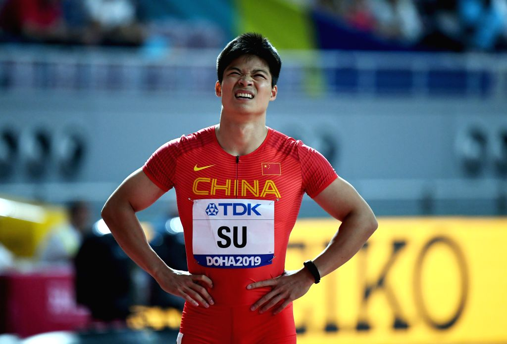 DOHA, Sept. 28, 2019 - Su Bingtian of China reacts after the men's 100m heat at the 2019 IAAF World Athletics Championships in Doha, Qatar, Sept. 27, 2019.