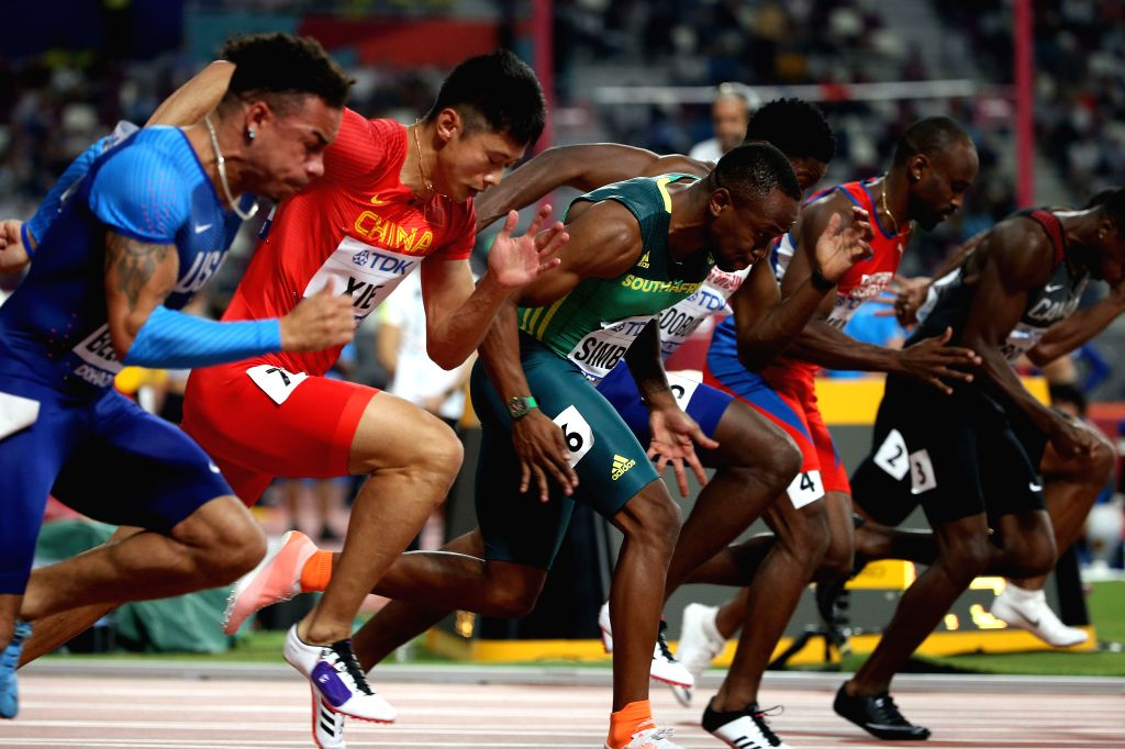 DOHA, Sept. 28, 2019 - Xie Zhenye (2nd L) of China competes during the men's 100m heat at the 2019 IAAF World Athletics Championships in Doha, Qatar, Sept. 27, 2019.