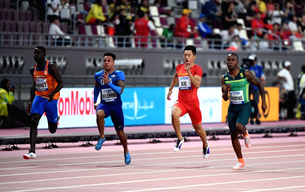 DOHA, Sept. 28, 2019 - Xie Zhenye (2nd R) of China competes during the men's 100m heat at the 2019 IAAF World Athletics Championships in Doha, Qatar, Sept. 27, 2019.