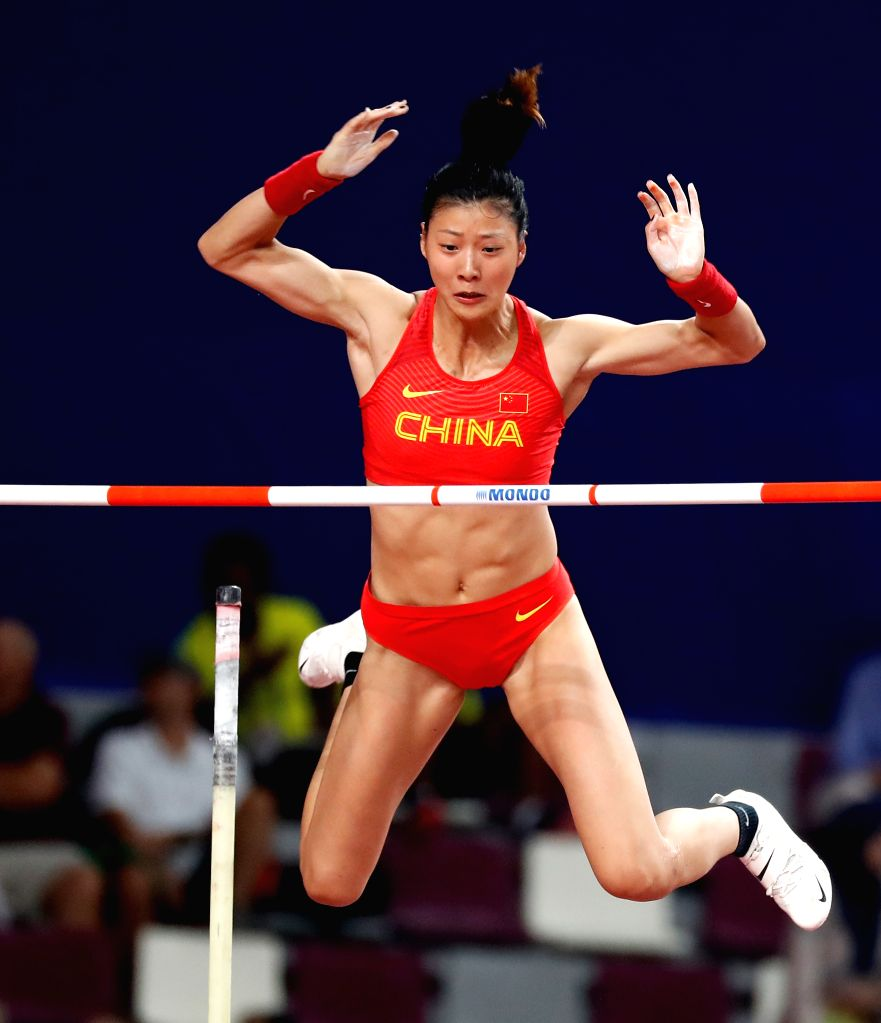 DOHA, Sept. 28, 2019 - Xu Huiqin of China competes during the qualification round of women's pole vault at the 2019 IAAF World Athletics Championships in Doha, Qatar, Sept. 27, 2019.