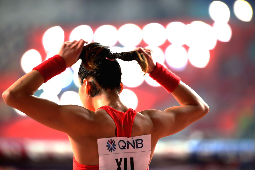 DOHA, Sept. 28, 2019 - Xu Huiqin of China prepares during the qualification round of women's pole vault at the 2019 IAAF World Athletics Championships in Doha, Qatar, Sept. 27, 2019.