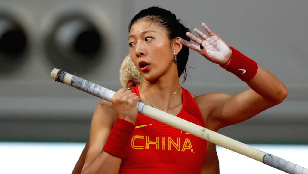 DOHA, Sept. 28, 2019 - Xu Huiqin of China warms up during the qualification round of women's pole vault at the 2019 IAAF World Athletics Championships in Doha, Qatar, Sept. 27, 2019.