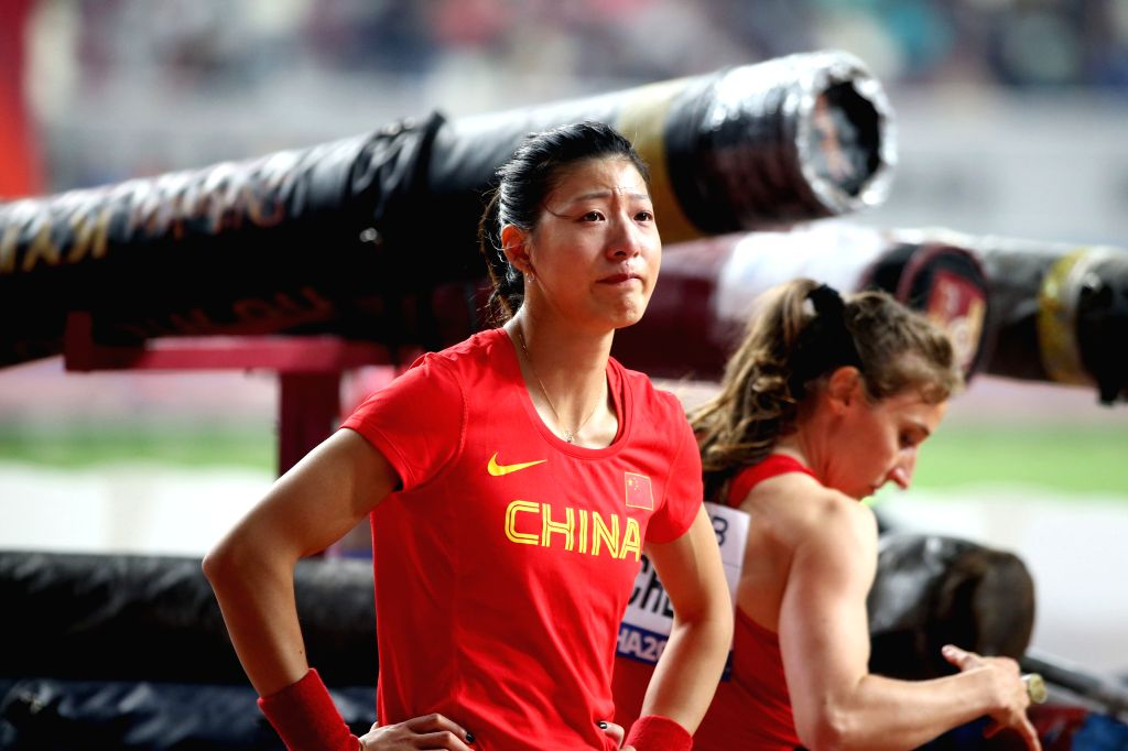 DOHA, Sept. 28, 2019 - Xu Huiqin of China weeps after the qualification round of women's pole vault at the 2019 IAAF World Athletics Championships in Doha, Qatar, Sept. 27, 2019.