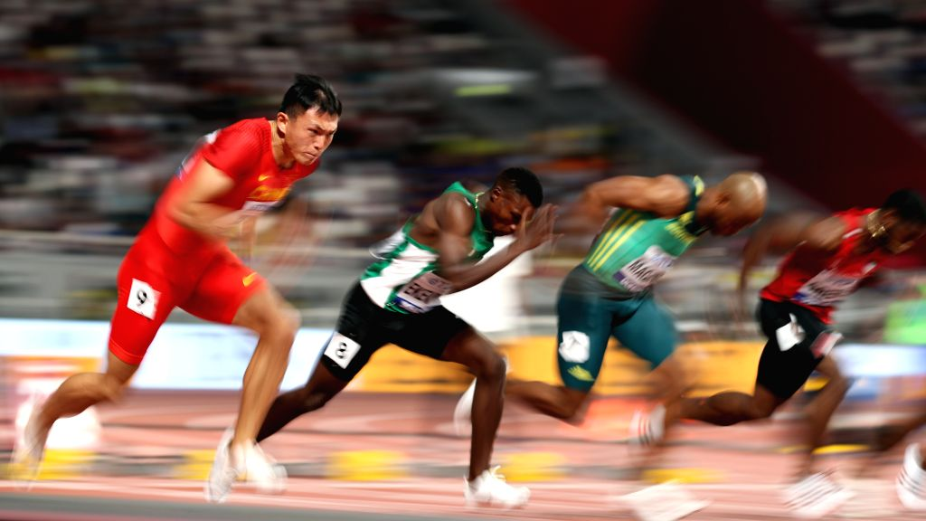 DOHA, Sept. 28, 2019 - Xu Zhouzheng (1st L) of China competes during the men's 100m heat at the 2019 IAAF World Athletics Championships in Doha, Qatar, Sept. 27, 2019.