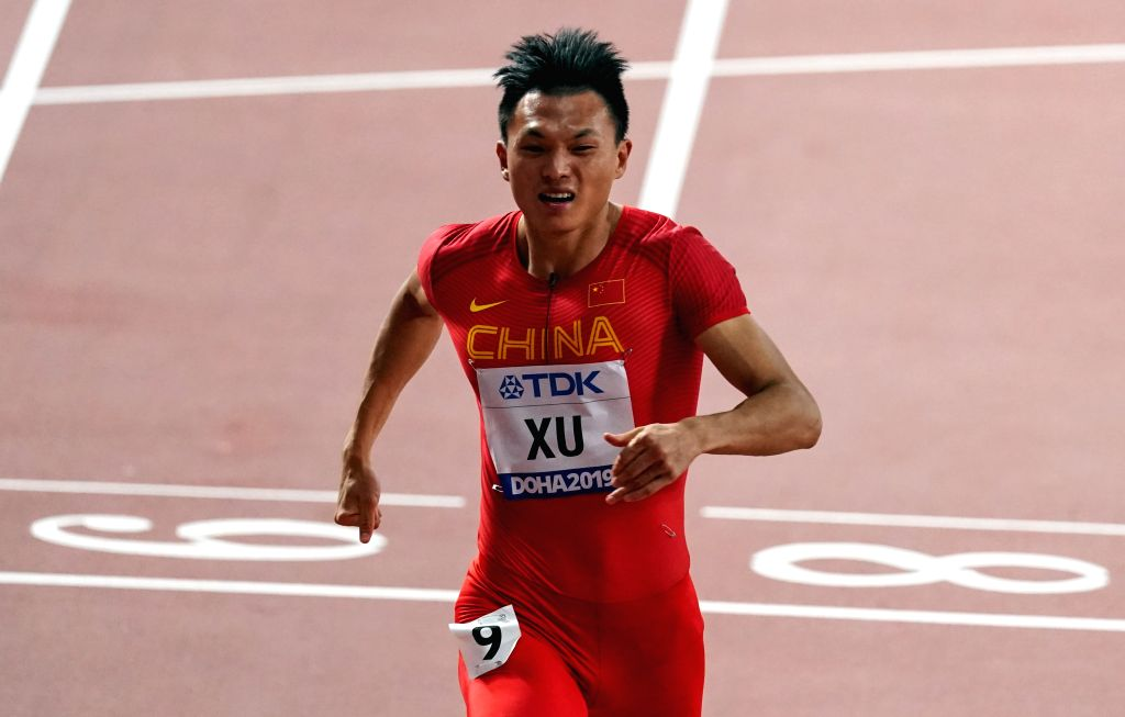 DOHA, Sept. 28, 2019 - Xu Zhouzheng of China competes during the men's 100m heat at the 2019 IAAF World Athletics Championships in Doha, Qatar, Sept. 27, 2019.