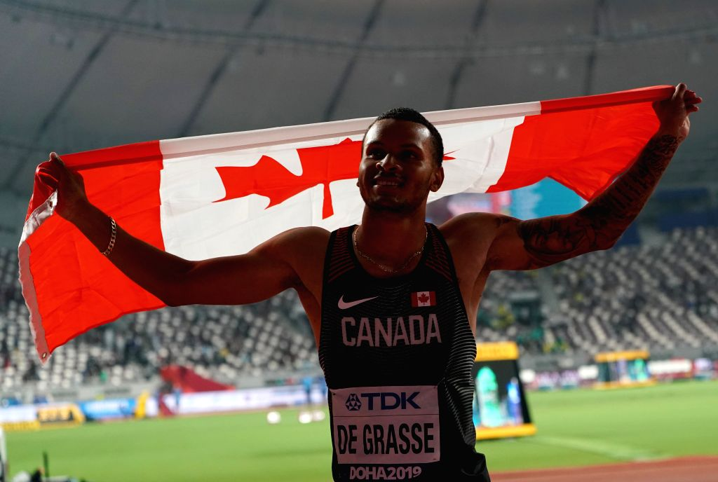DOHA, Sept. 29, 2019 - Andre de Grasse of Canada celebrates after the men's 100m final at the 2019 IAAF World Championships in Doha, Qatar, Sept. 28, 2019.