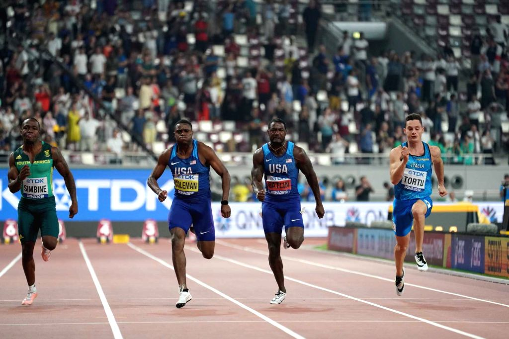 DOHA, Sept. 29, 2019 - Christian Coleman (3rd R) of the United States sprints with his compatriot Justin Gatlin (2nd R) during the men's 100m final at the 2019 IAAF World Championships in Doha, ...