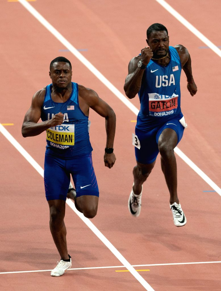 DOHA, Sept. 29, 2019 - Christian Coleman (L) of the United States and his teammate Justin Gatlin compete during the men's 100m final at the 2019 IAAF World Championships in Doha, Qatar, Sept. 28, ...