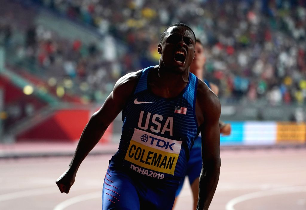 DOHA, Sept. 29, 2019 - Christian Coleman of the United States celebrates after the men's 100m final at the 2019 IAAF World Championships in Doha, Qatar, Sept. 28, 2019.