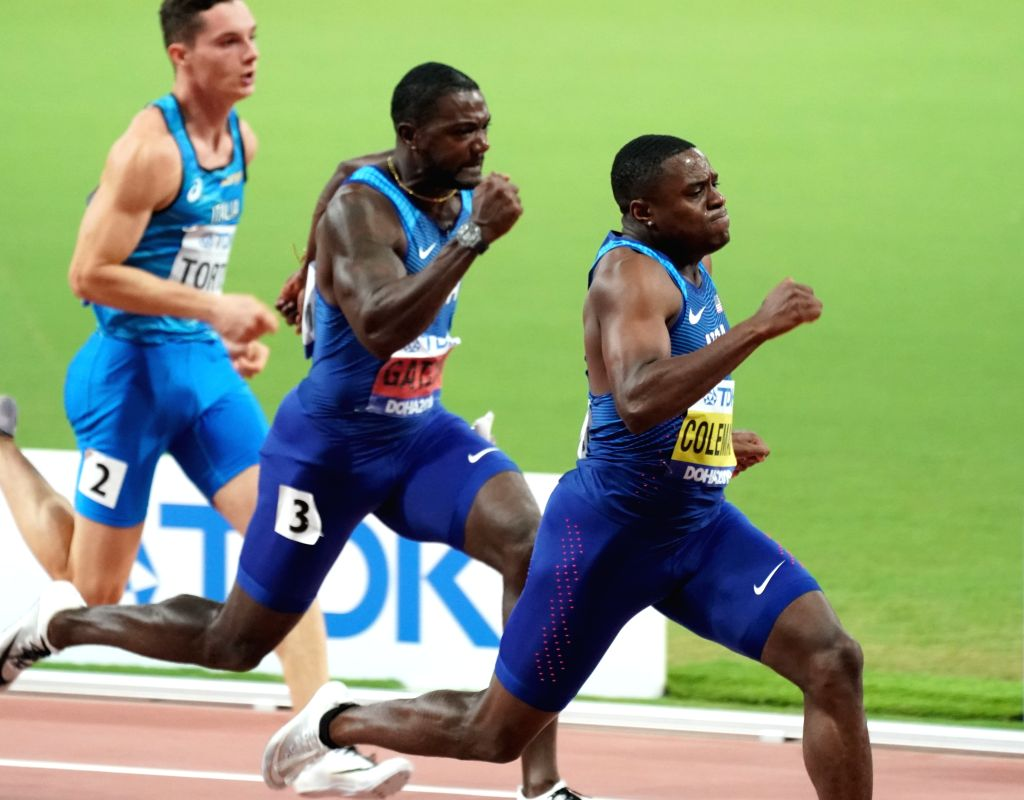 DOHA, Sept. 29, 2019 - Christian Coleman (R) of the United States and his teammate Justin Gatlin (C) compete during the men's 100m final at the 2019 IAAF World Championships in Doha, Qatar, Sept. 28, ...