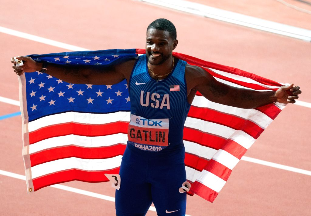 DOHA, Sept. 29, 2019 - Justin Gatlin of the United States celebrates after the men's 100m final at the 2019 IAAF World Championships in Doha, Qatar, Sept. 28, 2019.