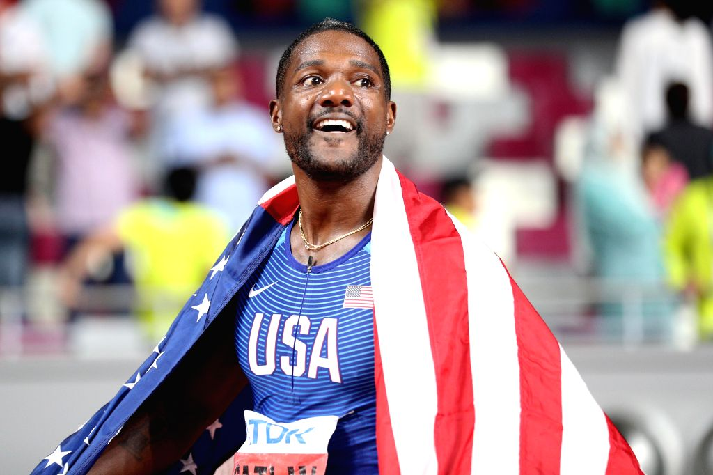 DOHA, Sept. 29, 2019 - Justin Gatlin of the United States reacts after the men's 100m final at the 2019 IAAF World Championships in Doha, Qatar, Sept. 28, 2019.
