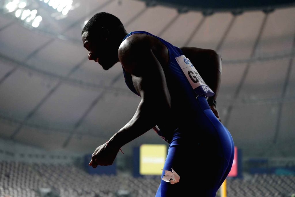 DOHA, Sept. 29, 2019 - Justin Gatlin of the United States walks like an old man after the men's 100m final at the 2019 IAAF World Championships in Doha, Qatar, Sept. 28, 2019.