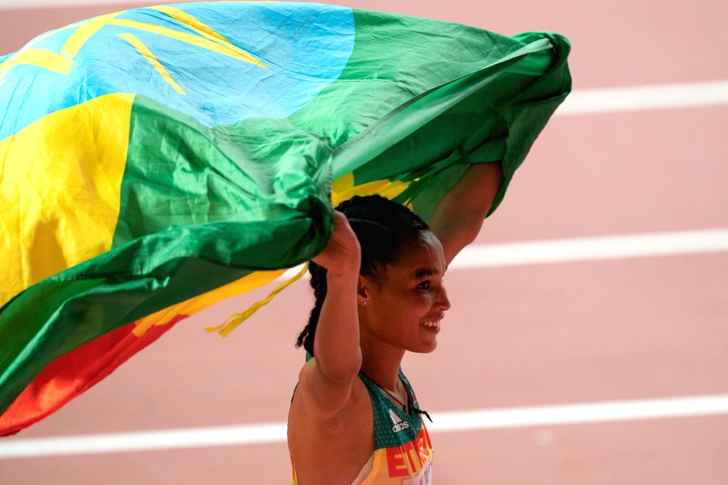 DOHA, Sept. 29, 2019 - Letesenbet Gidey of Ethiopia celebrates after the women's 10,000m final at the 2019 IAAF World Championships in Doha, Qatar, Sept. 28, 2019.