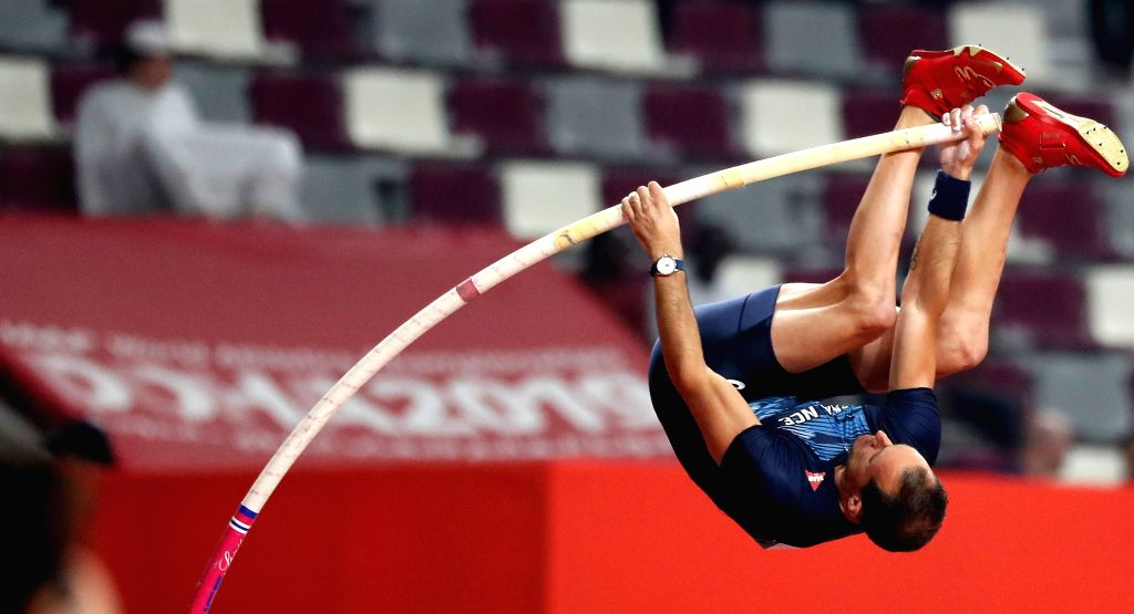 DOHA, Sept. 29, 2019 - Renaud Lavillenie of France competes during Men's Pole Vault Qualification at the 2019 IAAF World Championships in Doha, Qatar, Sept. 28, 2019.