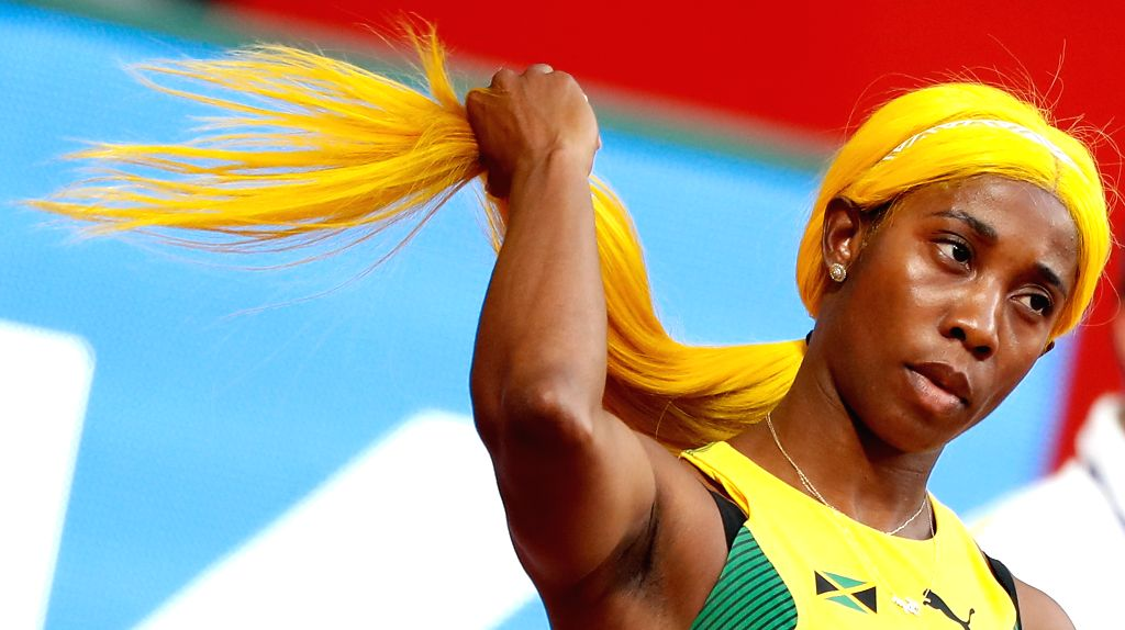 DOHA, Sept. 29, 2019 - Shelly-Ann Fraser-Pryce of Jamaica touches her hair before the women's 100m heats at the 2019 IAAF World Championships in Doha, Qatar, Sept. 28, 2019.