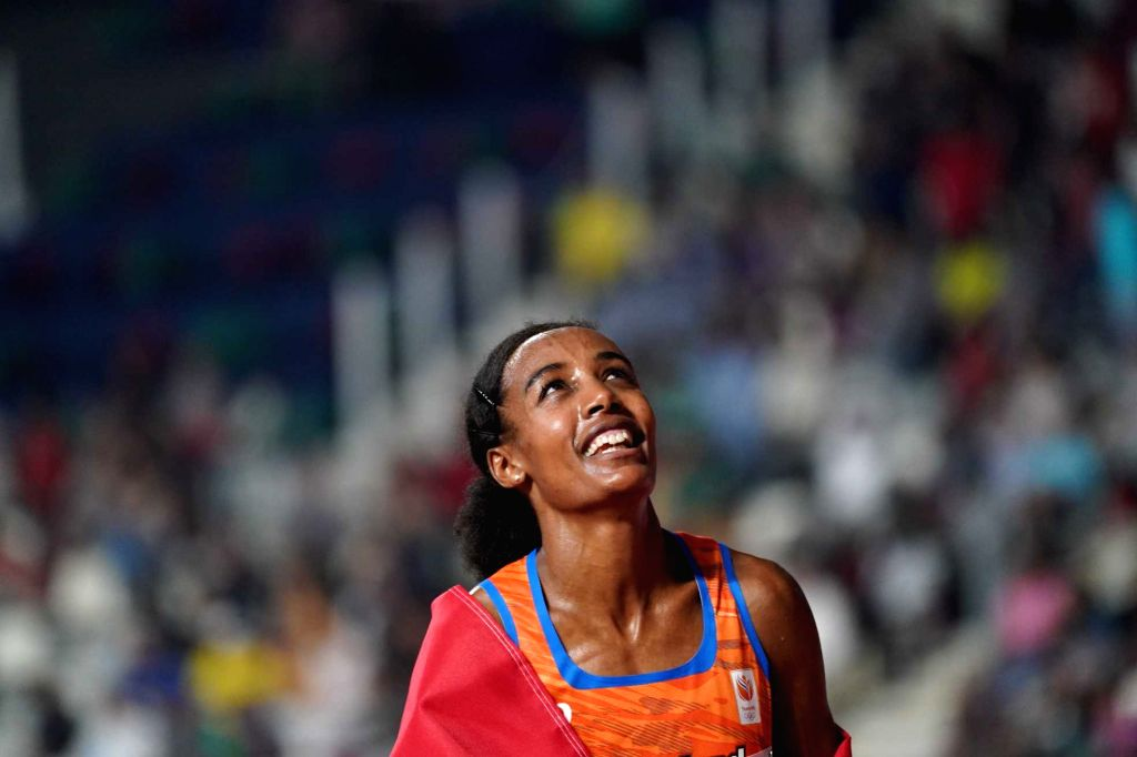 DOHA, Sept. 29, 2019 - Sifan Hassan of the Netherlands celebrates after the women's 10,000m final at the 2019 IAAF World Championships in Doha, Qatar, Sept. 28, 2019. - Sifan Hassan