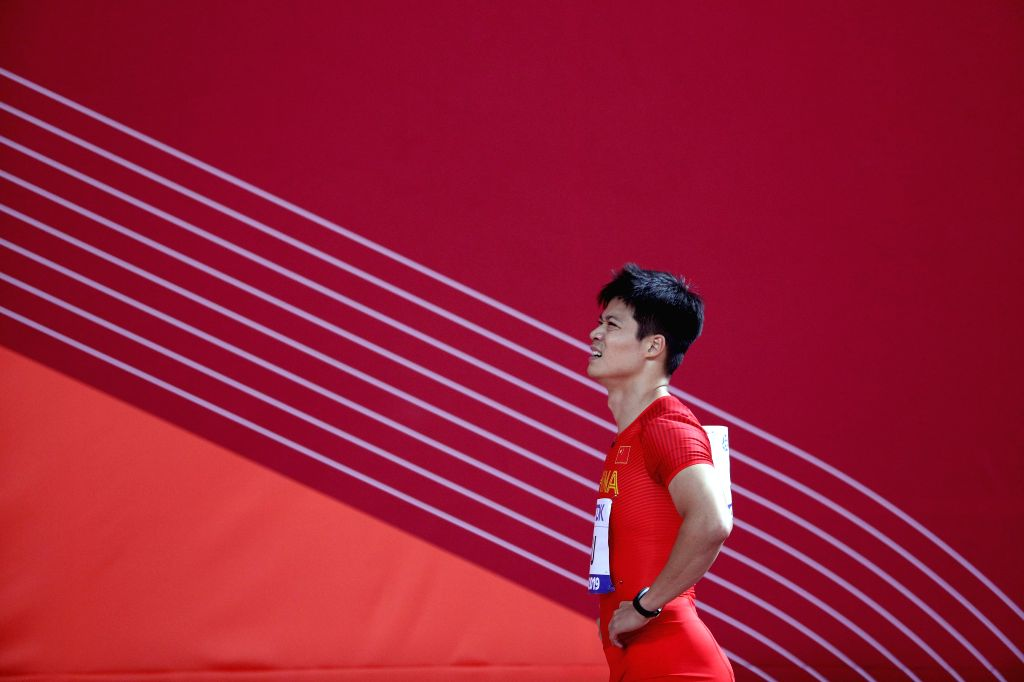 DOHA, Sept. 29, 2019 - Su Bingtian of China reacts after the men's 100m semifinal at the 2019 IAAF World Athletics Championships in Doha, Qatar, Sept. 28, 2019.