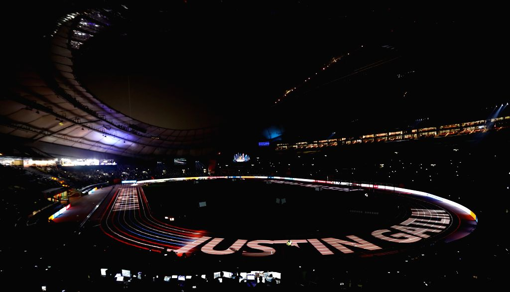 DOHA, Sept. 29, 2019 - The name of Justin Gatlin of the United States is projected on the track before the men's 100m final at the 2019 IAAF World Championships in Doha, Qatar, Sept. 28, 2019.