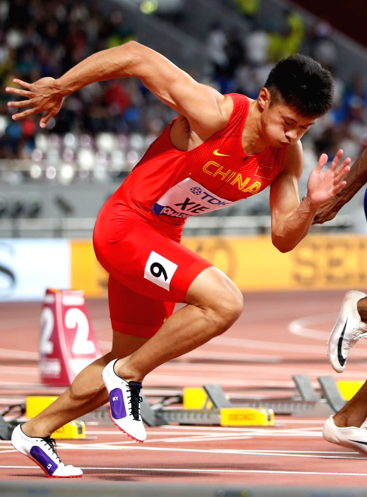 DOHA, Sept. 29, 2019 - Xie Zhenye of China competes during the men's 100m semifinal at the 2019 IAAF World Athletics Championships in Doha, Qatar, Sept. 28, 2019.