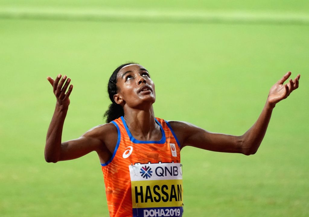 DOHA, Sept. 29, 2019 (Xinhua) -- Sifan Hassan of the Netherlands celebrates after the women's 10,000m final at the 2019 IAAF World Championships in Doha, Qatar, Sept. 28, 2019. (Xinhua/Xu Suhui/IANS) - Sifan Hassan
