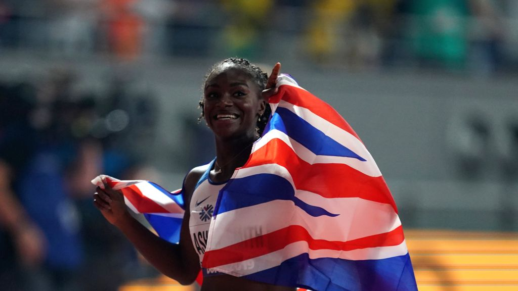 DOHA, Sept. 30, 2019 (Xinhua) -- Dina Asher-Smith of Britain celebrates after the Women's 100 Meters Final at the 2019 IAAF World Championships in Doha, Qatar, Sept. 29, 2019. (Xinhua/Jia Yuchen/IANS)