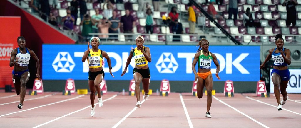 DOHA, Sept. 30, 2019 (Xinhua) -- Dina Asher-Smith of Britain, Shelly-Ann Fraser-Pryce and Elaine Thompson of Jamaica, Marie-Josee Ta Lou of Cote d'Ivoire and Teahna Daniels of the United States (from L to R) compete during the Women's 100 Meters Fina