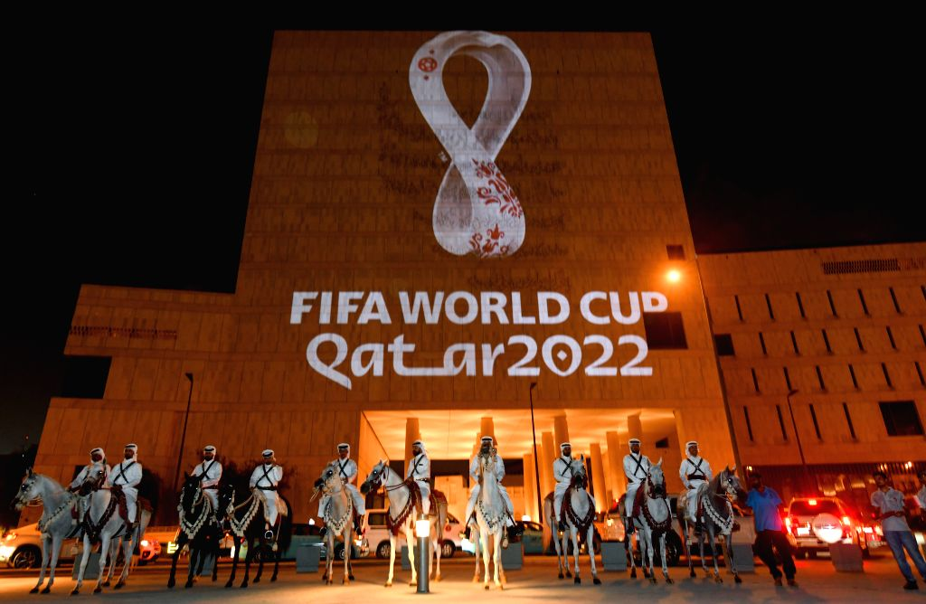 DOHA, Sept. 4, 2019 - Image of the emblem of 22nd edition of the FIFA World Cup is shown on the building at Souq Waqif market in Doha, capital of Qatar, on Sept. 3, 2019. The Official emblem of the ...