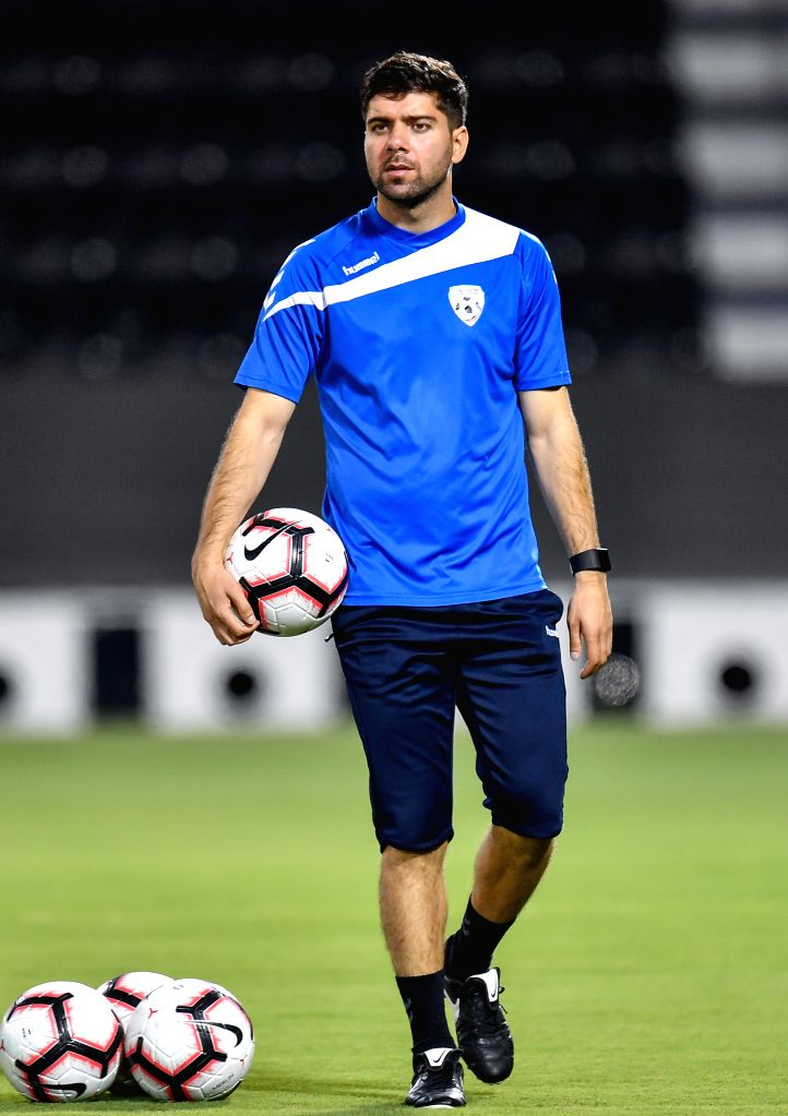 DOHA, Sept. 5, 2019 - Afghanistan's national team head coach Anoush Dastgir attends a training session for the FIFA World Cup Qatar 2022 and AFC Asian Cup China 2023 Preliminary Joint Qualification ...