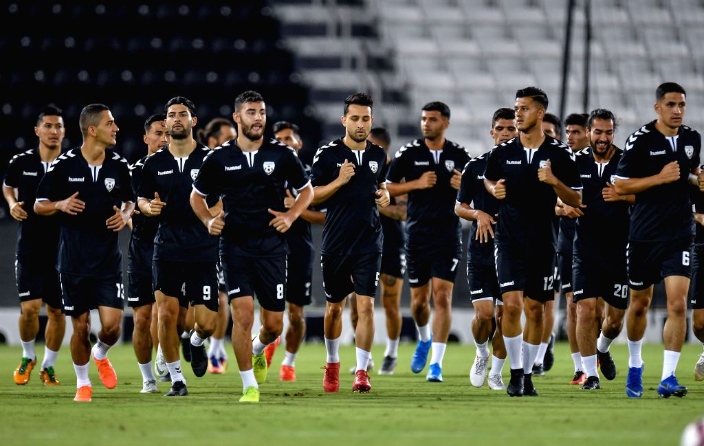DOHA, Sept. 5, 2019 - Players of Afghanistan attend a training session for the FIFA World Cup Qatar 2022 and AFC Asian Cup China 2023 Preliminary Joint Qualification between Qatar and Afghanistan in ...